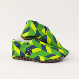 Picture of Slippers - geometric green